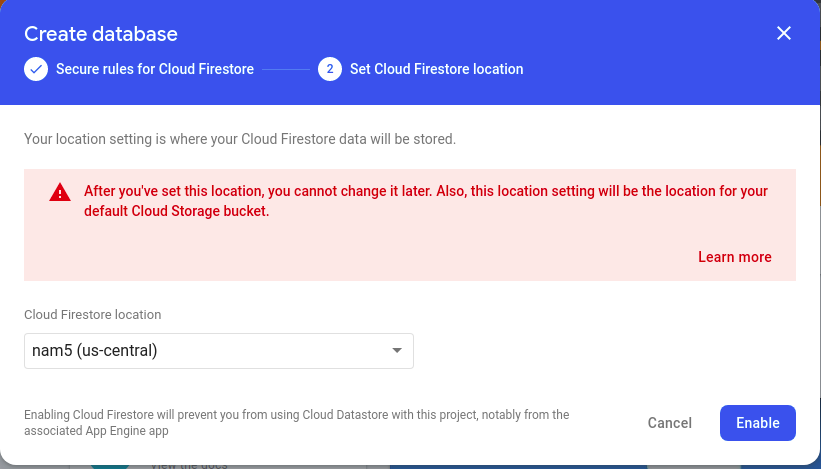 Create Databse screen with a dropdown list from which to select a Cloud Firestore location.
