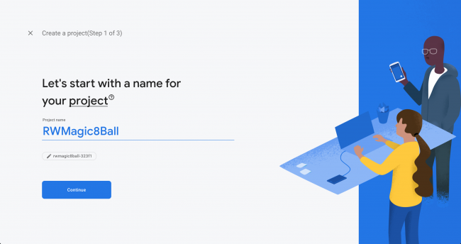 Naming the Project page
